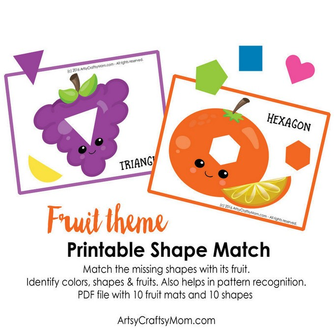 photograph regarding Printable Pictures of Shapes identified as Printable Fruit Topic Condition Activity - Artsy Craftsy Mother