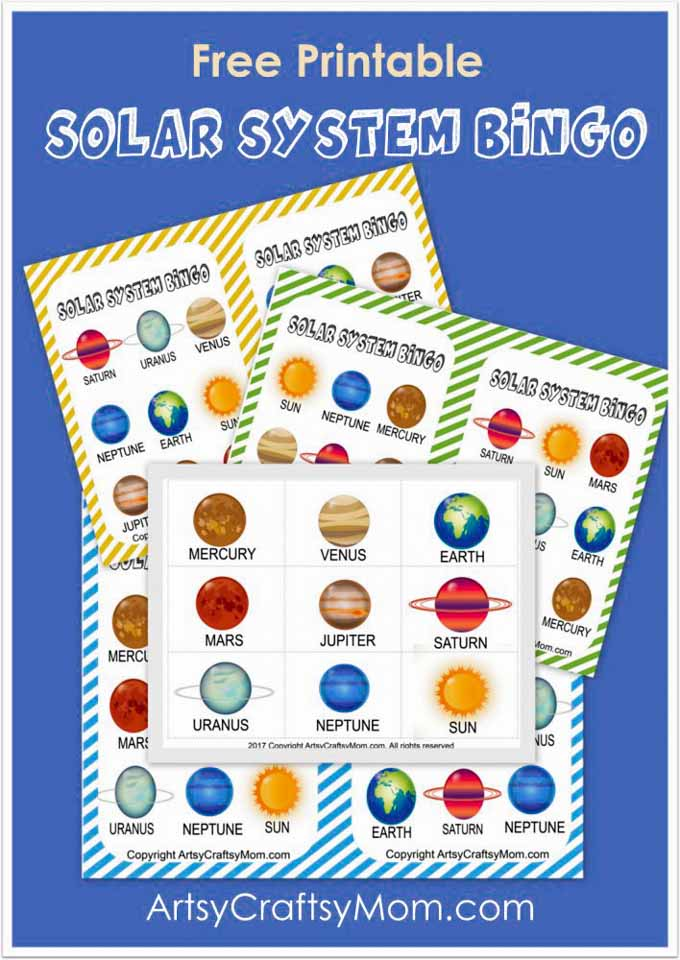 Let the kids truly appreciate our planet by understanding it's position in space, all thanks to this Free Printable Solar System Bingo game!