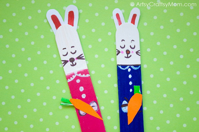Thinking of a noncandy treat for Easter basket? Or just need a fun crafty activity to do with the kids? These Craft Stick Easter Bunny Bookmarks are perfect