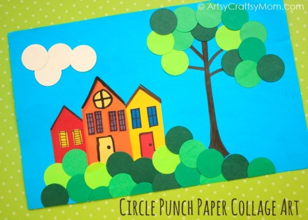 Collages are a popular art form - from artists to toddlers! Try out this spring themed Circle Punch Paper Collage - with just craft paper & a circle punch!