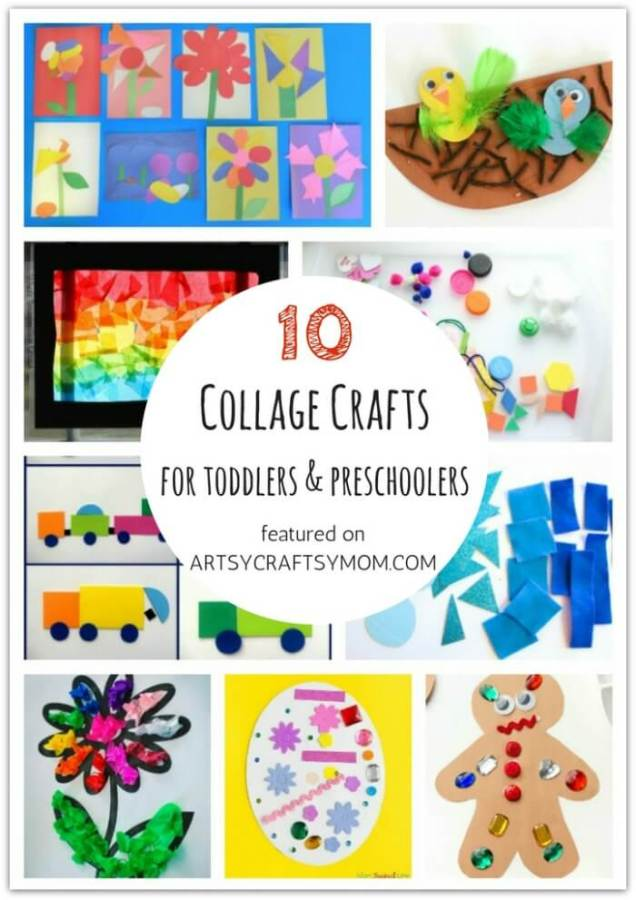 Don't let little kids feel left out when crafting! Here are 10 Collage crafts for toddlers and preschoolers, designed specifically for them!
