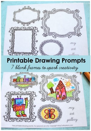 Printable Blank Frames Drawing Prompts to spark your child's creativity