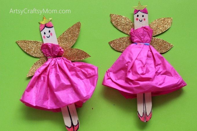 DIY Craft Stick Fairy Craft For Kids With Glitter Wings