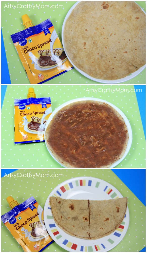Turn a boring Roti into a Butterfly Roti Sandwich with Pillsbury Choco Spread Masti Pack. Every #Pillsbury #ChocoDoodle created means a roti enjoyed thoroughly.Now, Draw the Masti, Eat the Roti with the Pillsbury Milk Choco Spread via ArtsyCraftsyMom.com