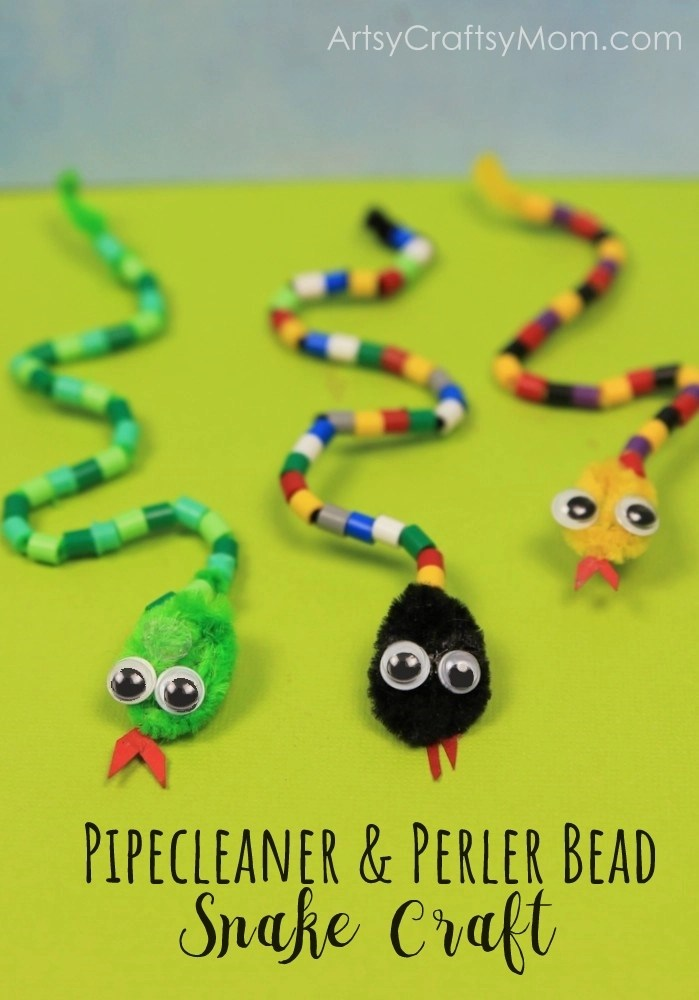 Diy pipe cleaner and bead snake craft for kids for Reptile crafts for kids