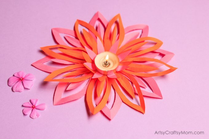 Light up your life and your home with a pretty paper lotus tealight holder - perfect Diwali decor that even the kids can make in no time!