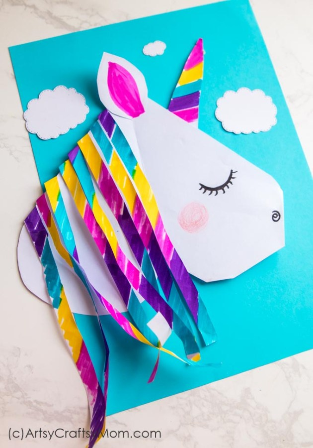 DIY Unicorn Valentine Paper Puppet! Delight your friends with this magical creature!