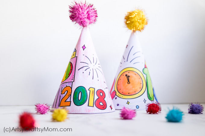 Free Printable New Year's Eve Coloring Party Hats [Updated ...