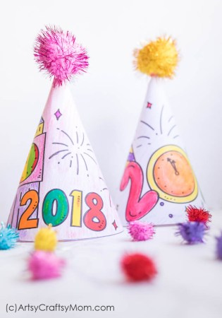 Free Printable New Year's Eve Coloring Party Hats [Updated for 2019]