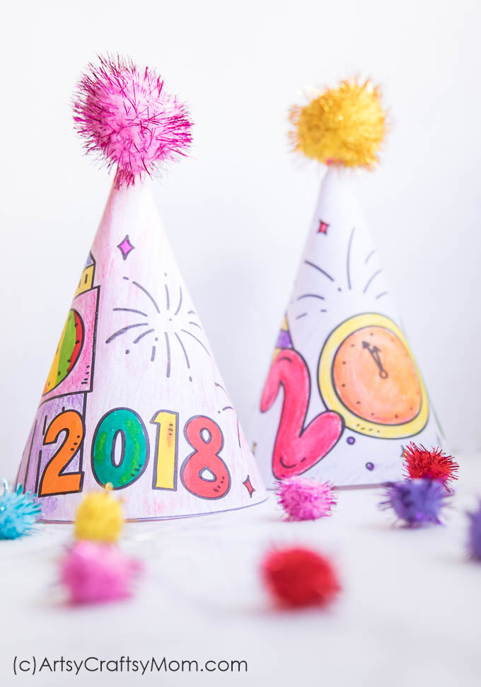 Free Printable New Year 39 s Eve Coloring Party Hats Artsy