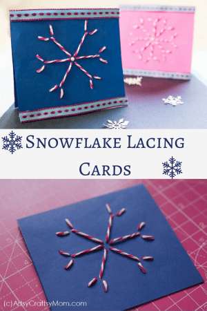 These DIY Snowflake Lacing Cards are the perfect way to give your loved ones a festive greeting, not to mention a good way to strengthen sewing skills!