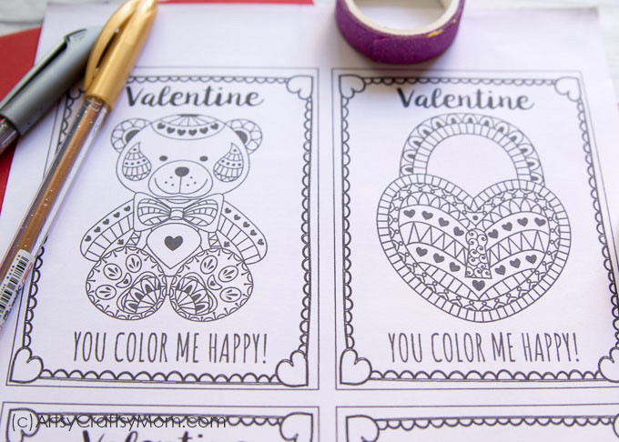 Free Printable Coloring Cards for Valentine39s Day