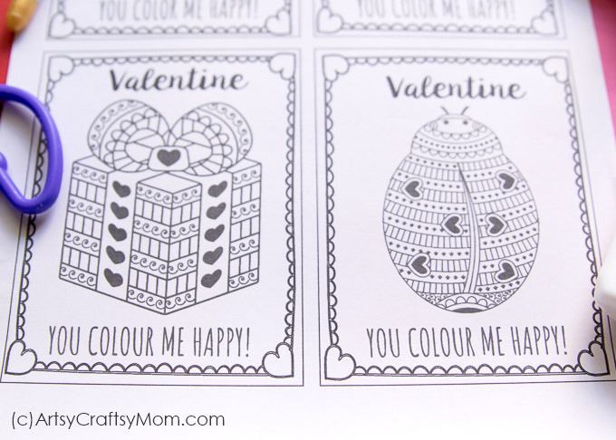 Free Printable Coloring Cards for Valentine\'s Day