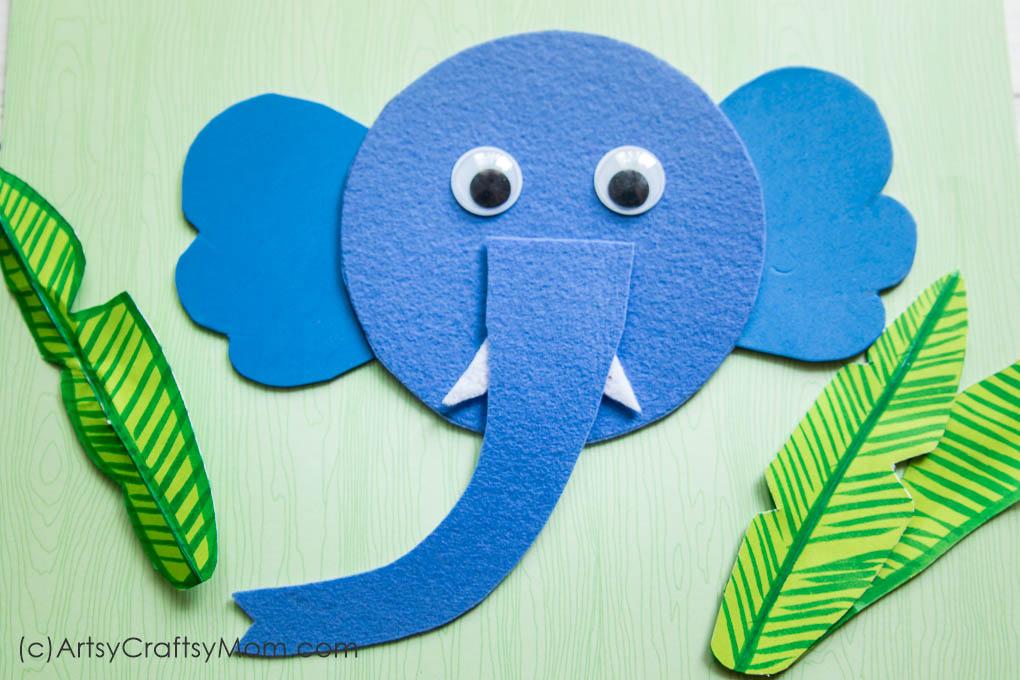 graphic regarding Elephant Template Printable named E for Elephant Craft with Printable Template - Artsy Craftsy Mother
