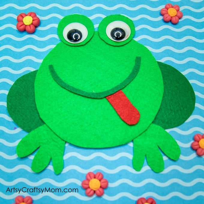 Make this adorable F for Frog Craft using our Printable Template that's perfect for learning about pond animals, amphibians, letter F, rainforest theme or lifecycle of a frog.