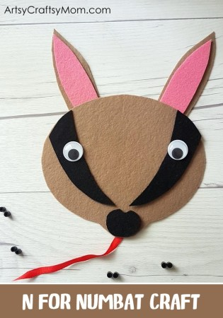 N for Numbat Craft with Printable Template