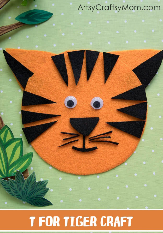Make this adorable T for Tiger Craft using our Printable Template that's perfect for learning about the National Animal of India, Endangered Animals unit, jungle, safari, zoo theme or the Letter T