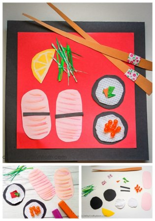Pretend Play Food Collage – Paper Sushi Craft for Kids