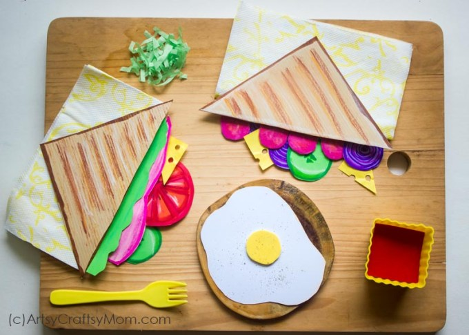 Add to your pretend play food collection with our Paper Sandwich Craft for Kids - a bright and colorful paper version of the universal kiddie favorite!