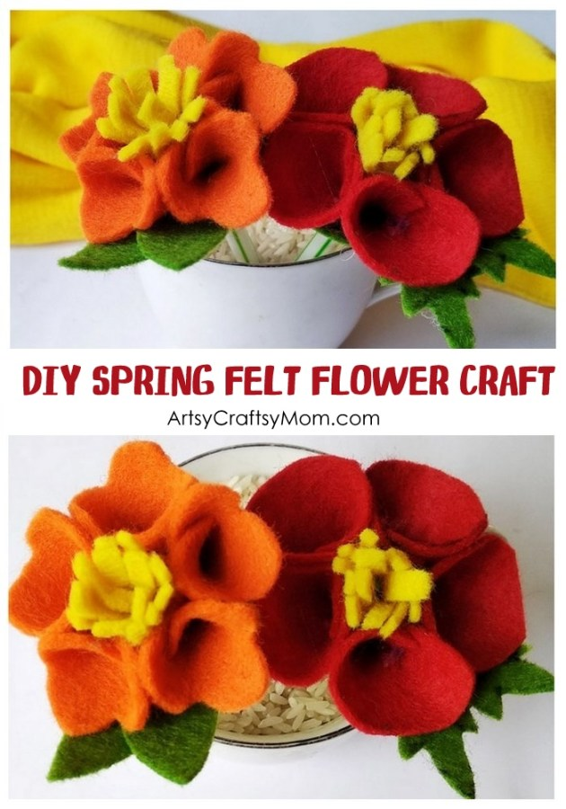 Learn how to make simple and beautiful No Sew Felt Flowers with Kids, Free Template Included. Use them as pins, or on hats and bags or as a Mother's day bouquet