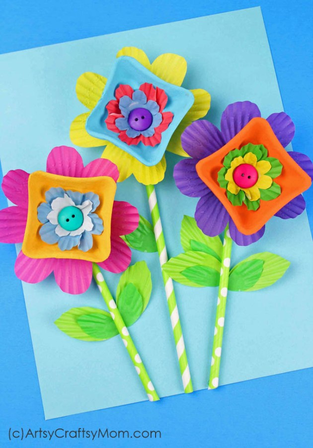 Recycled Egg Carton Flower Craft