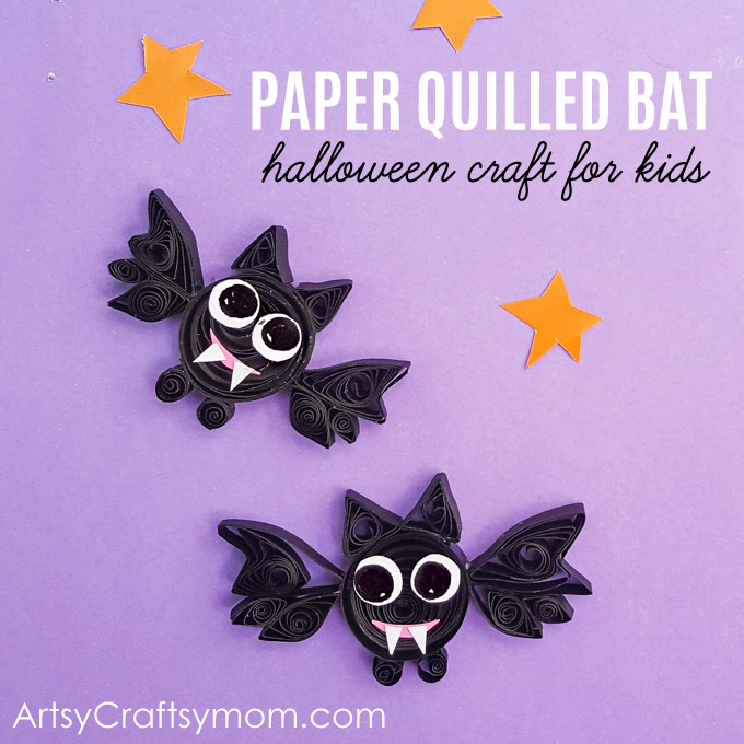 DIY Paper Quilled Bat Halloween craft for kids is just perfect for a fun evening and a unique way to discuss the folklore and history of Halloween.