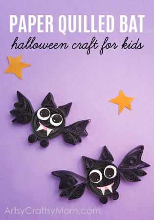 DIY Paper Quilled Halloween Bat Craft for Kids