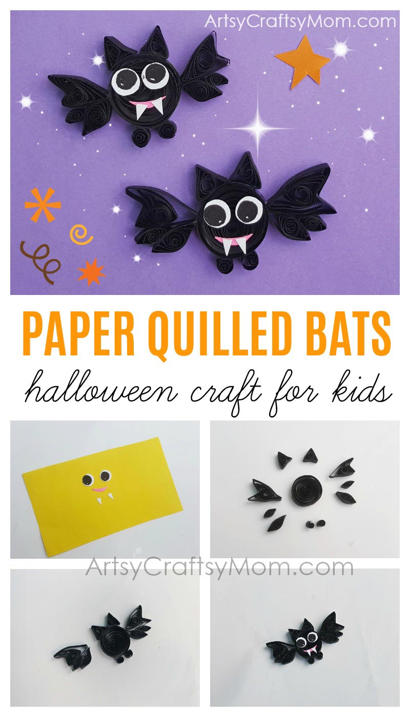 DIY Paper Quilled  Halloween Bat craft is just perfect to turn into jewelry or use as party invitations or as cute non-candy Halloween favors for trick or treat! #Halloween #Bats #kidscraft