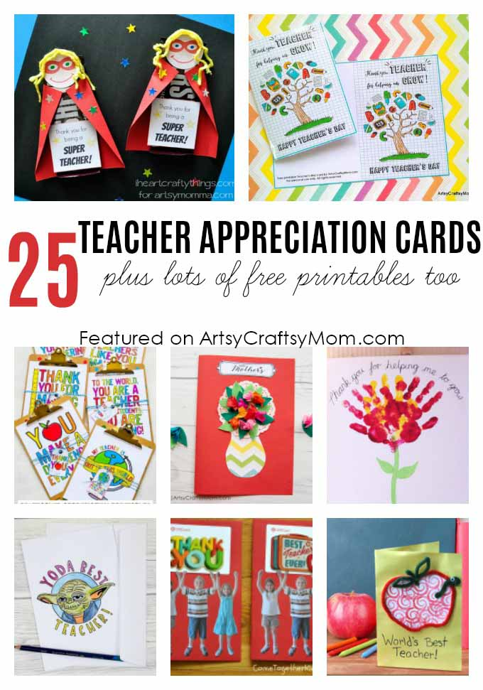 image relating to Printable Thank You Cards for Teacher known as 25 Remarkable Academics Appreciation Playing cards with Free of charge Printables