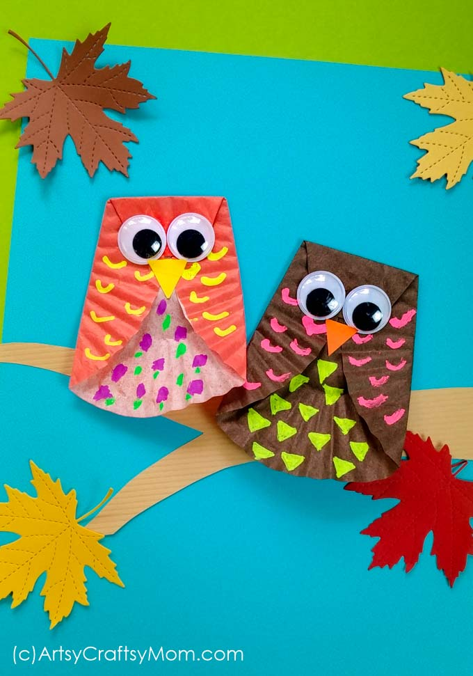 Cupcake Liner Owl Craft Fall Craft For Kids