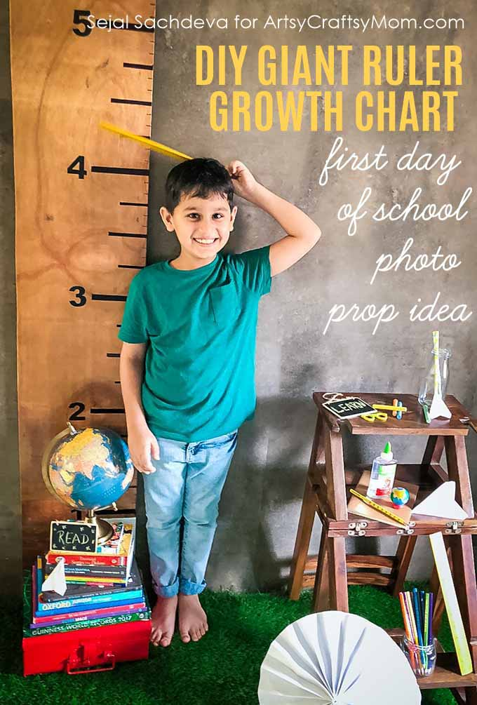 This DIY Giant Wooden Ruler Growth Chart is useful for marking your child's height as they grow. Perfect as First Day of School Photo Prop too.