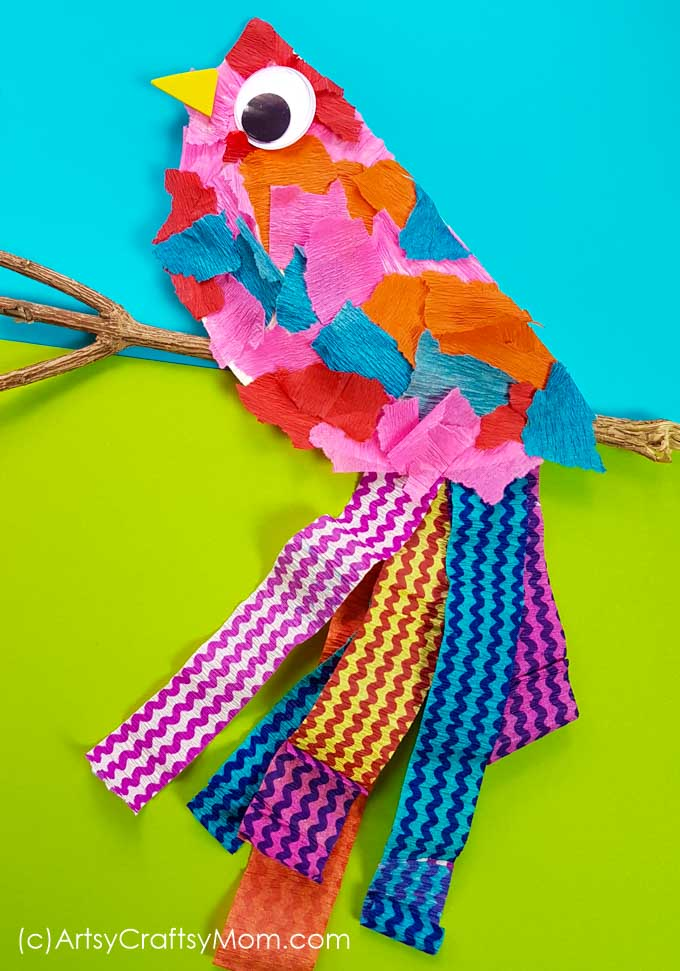 The paper plate bird craft using torn pieces of crepe paper and a paper plate is unbelievably easy to create. A perfect DIY for your preschooler.