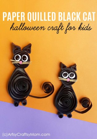 Paper Quilling Black Cat | Halloween Crafts for Kids