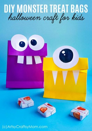 DIY Monster Treat Bags for Halloween + Free Template