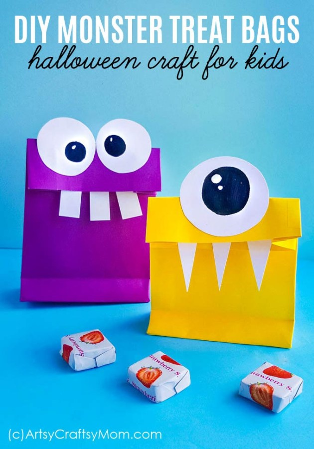 Going Trick o' Treating? Don't forget these DIY Monster Treat Bags that are perfect for Halloween! With a free template, these are super easy to make!