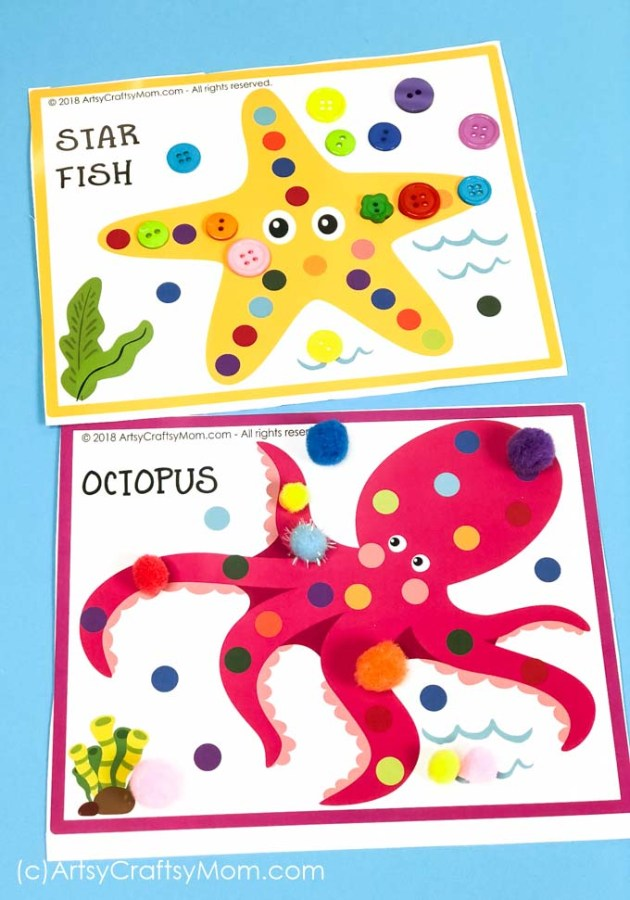 Use these Printable Ocean Themed Pom Pom Mats to help your child learn about underwater creatures, from a cute little turtle to the quirky puffer fish!