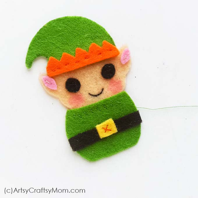 Elves don't have to be on the shelf, they can be on the tree too! Check out our Felt Elf Christmas ornament that's super cute and super easy to make!