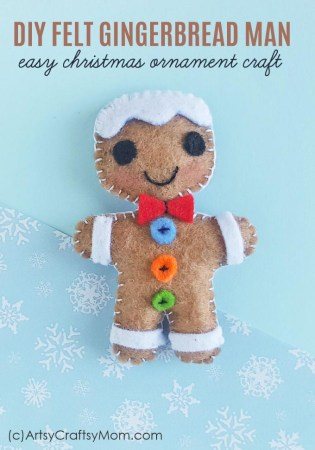 Felt Gingerbread Man Christmas Ornament Craft + Free Template