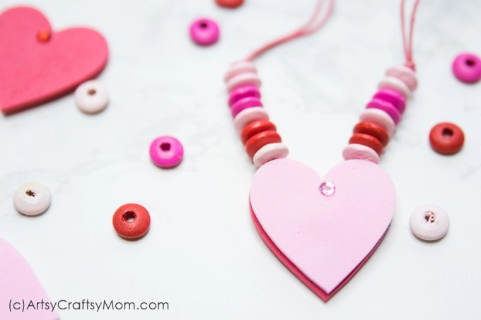 This DIY Reversible Valentine Heart Necklace makes a great gift for a classroom Valentine! A quick and easy craft that can be made in just a few minutes!