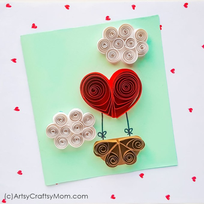 Love is literally in the air with this cute Quilled Paper Valentine Heart Balloon Card! With clouds & a heart shaped balloon, this is great for a classroom.