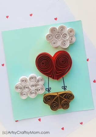 Quilled Paper Valentine Heart Balloon Card