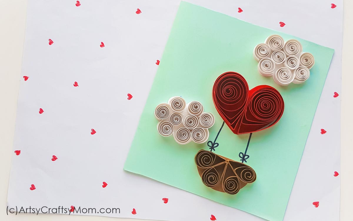 quilled paper valentine heart balloon card