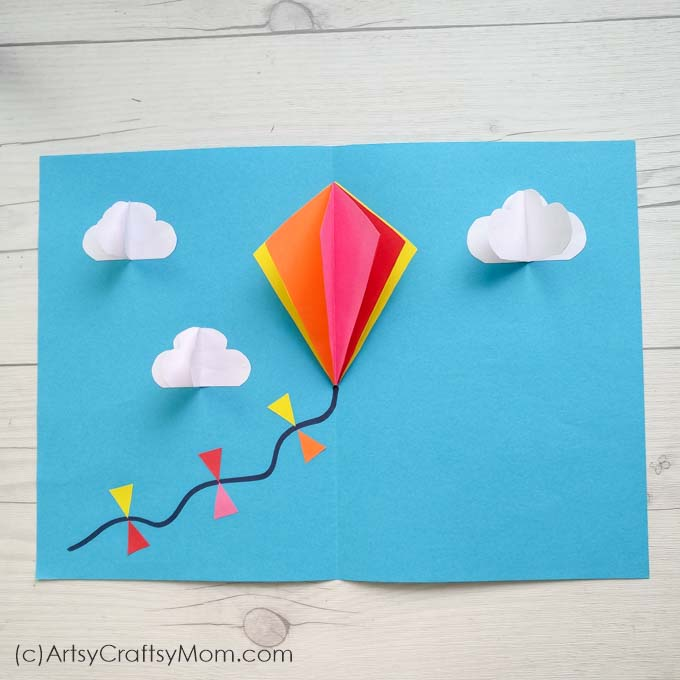 Make this DIY Popup Kite Card for Sankranti - a festival that's incomplete without kites! This bright & colorful card requires just craft paper & cardstock.