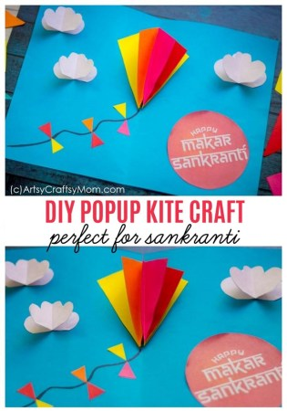 DIY Popup Kite Card for Sankranti