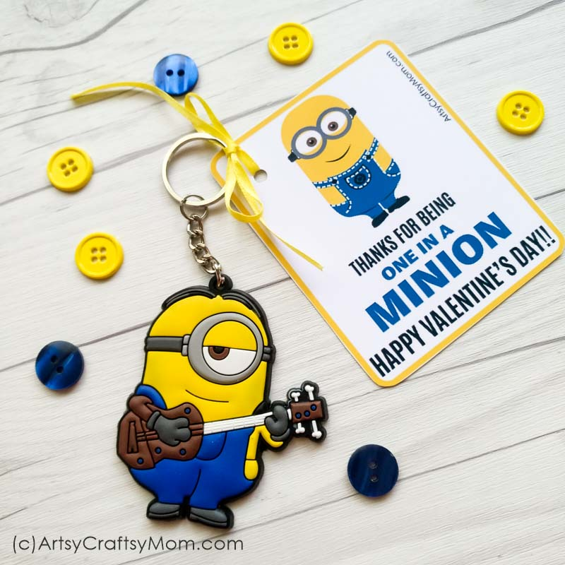 image regarding You Re One in a Minion Printable called On your own are a single within a Minion - Free of charge Valentine Printable Reward Tags