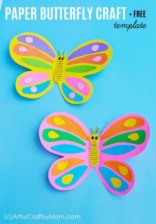 Paper Butterfly Craft+ Free Template