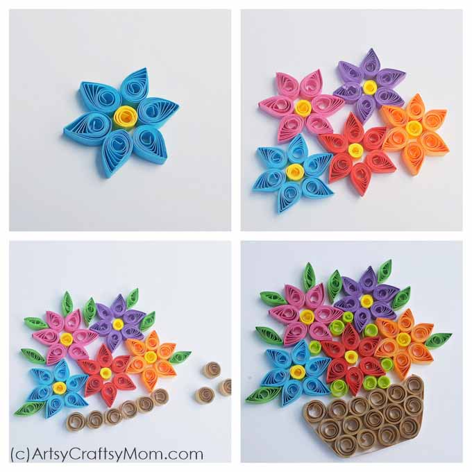 How to make Woven Paper Quilling Flower Basket - Step by step Ideas | 680x680