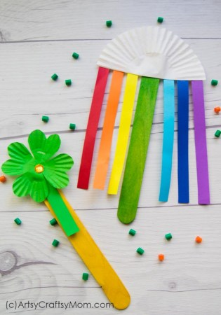 Rainbow and Shamrock Popsicle Stick Craft | St Patricks Day Special