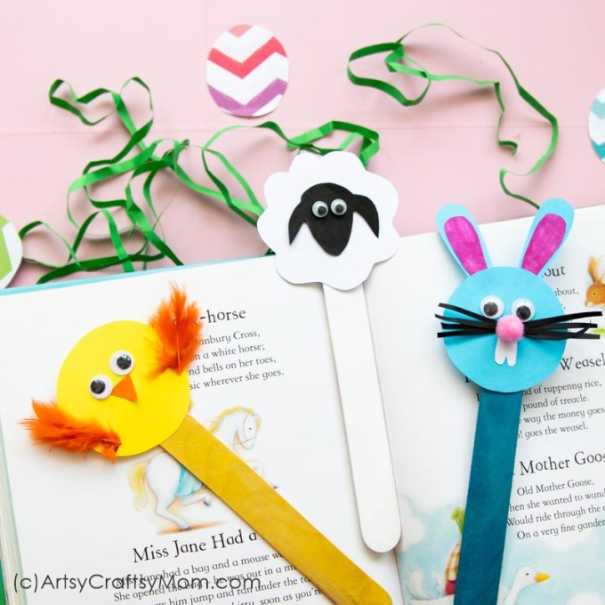 This Easter, have some fun making some Popsicle Stick Easter Crafts - Bunny, Chick and Sheep. Use them as bookmarks or decor or gift them to your friends!