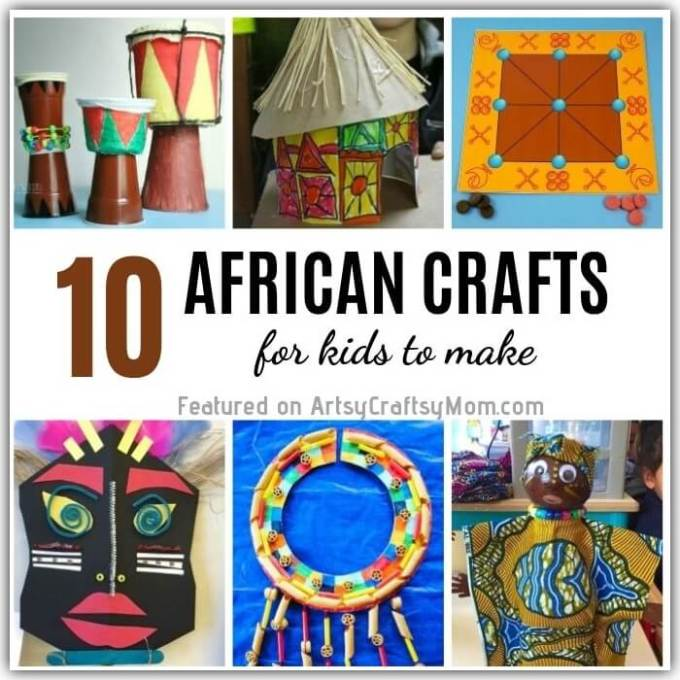 These traditional African crafts for kids teach us about the rich and colorful heritage of the African continent! Play games, create art and have fun!